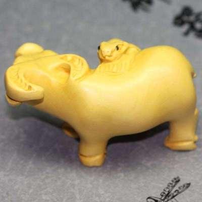 """沐恩 黄杨木雕2寸小摆件手把件—""""鼠牛""""属我最牛0038"""