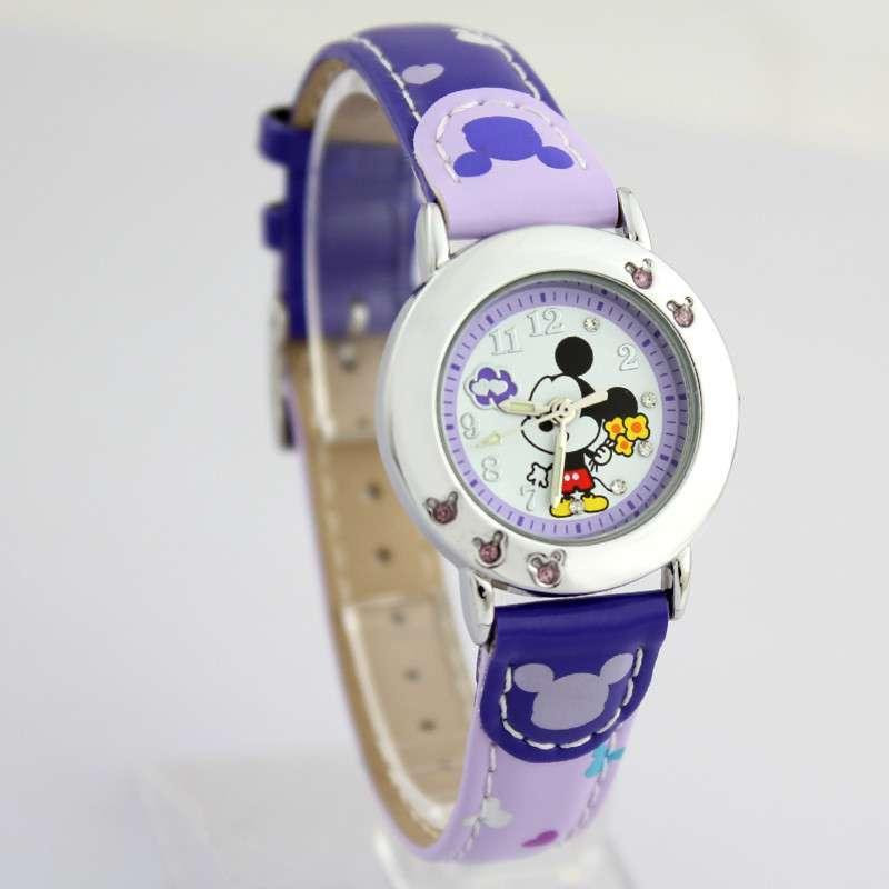 disney迪士尼 可爱卡通米奇童真男女儿童学生表夜光石英表 流行手表