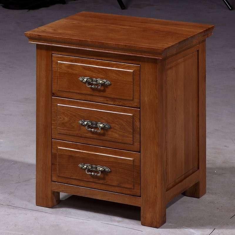 森岳家具 三抽床头柜灯桌 北欧田园100%纯实木白橡木 四色可选x1116