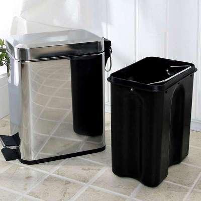 长方形不锈钢镜光脚踏垃圾桶5升