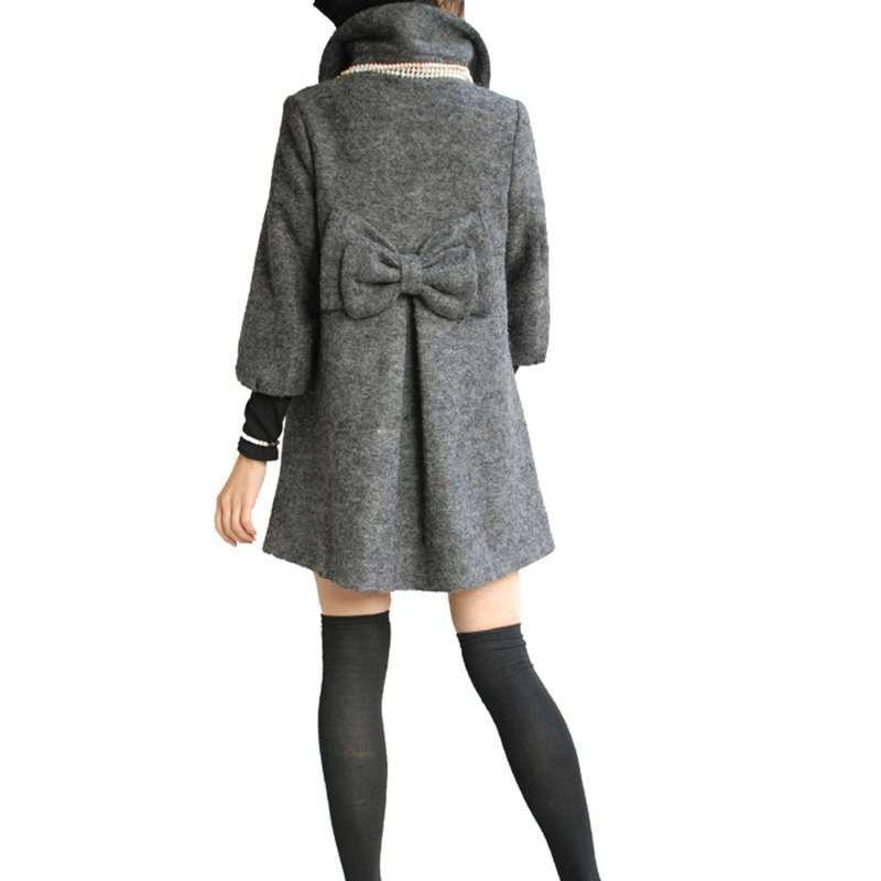 伍曼 秋冬装韩版甜美娃娃款宽松休闲羊毛呢大衣外套可爱蝴蝶结七分