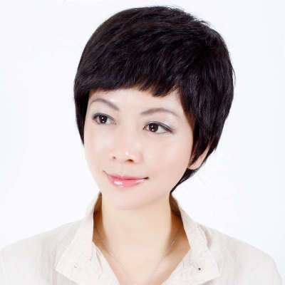 玫瑰雨女士中老年假发短发女全手织真发短卷发自然蓬松假发套预定5天