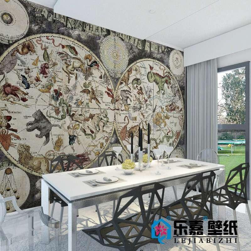 乐嘉大型壁画 欧式复古天体星座图m520-1 餐厅电视沙发背景墙壁纸