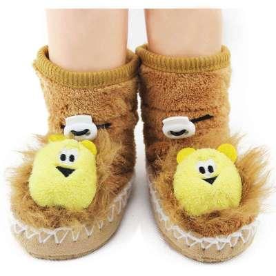 雅尔邦尼珊瑚绒卡通立体袜 加厚保暖宝宝鞋套1183 棕色小狮子 均码
