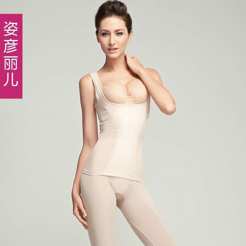外层镂空绣叶子图案塑身收腹托胸提臀套装
