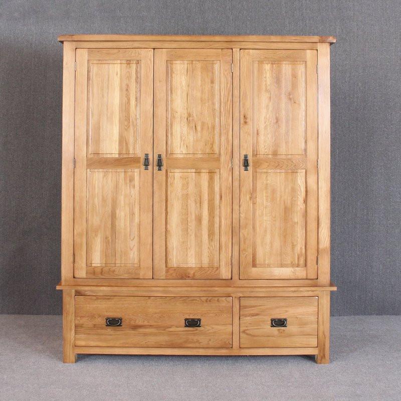 森岳家具 三门衣橱衣柜 田园100%纯实木白橡木1.93米