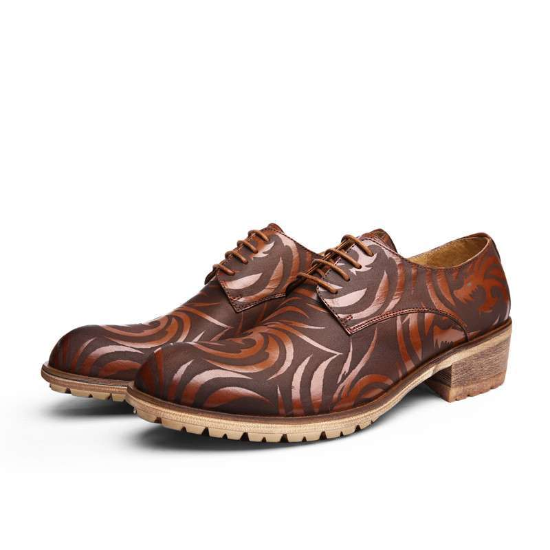 2014新款龙纹男士休闲花纹系带圆头皮鞋低帮潮流男士
