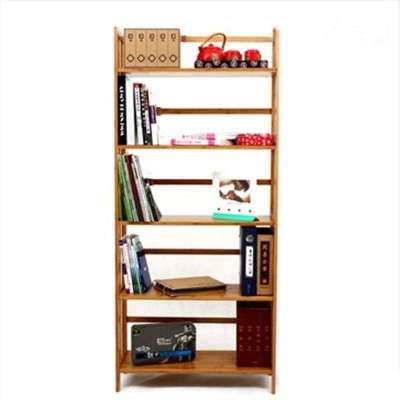 品生美 加厚楠竹书架实心板儿童书架简易书柜置物架宜家层板可调 四层
