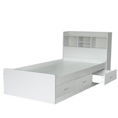欧式白色高箱储物床1