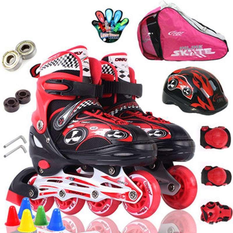 卡弗莱 单闪 儿童 可调伸缩直排 轮滑鞋溜冰鞋旱冰鞋全套装 粉红色 m