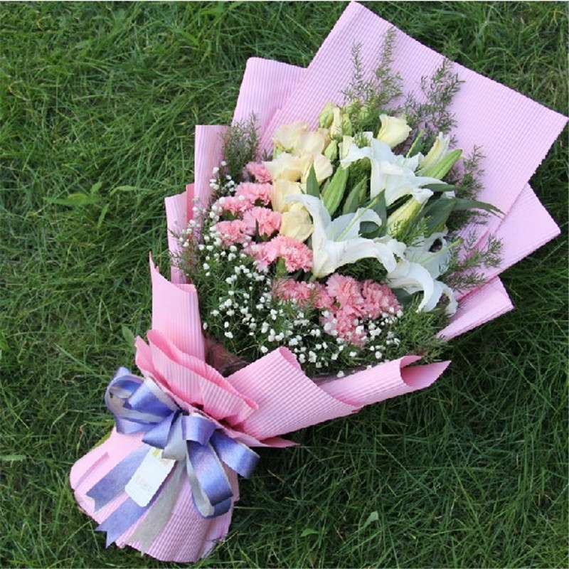 全国鲜花速 19朵粉色康乃馨花束