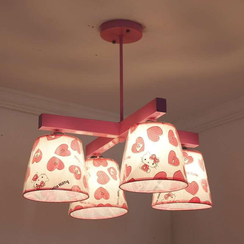 现代简约粉色女孩儿童灯饰卧室灯卡通创意吊灯具灯饰 014b-4粉高清