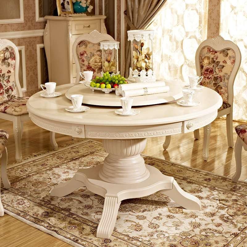 实木现代简约时尚白色韩式欧式宜家田园圆餐桌条形
