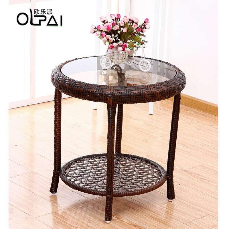 欧乐派 藤椅子茶几三件套 客厅椅阳台椅子 休闲仿古欧式组合家居 一桌