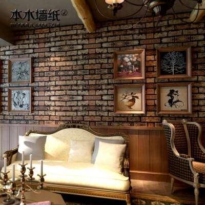 卧室客厅电视背景墙壁纸仿砖pvc墙纸特价