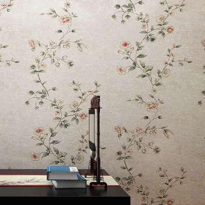 本木墙纸中式田园风格卧室餐客厅书房电视墙背景温馨小花无纺布
