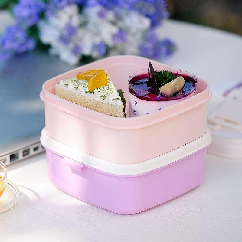 双层学生保温饭盒手提便当盒 微波炉加热饭盒可爱日本