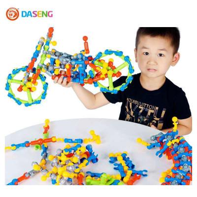 大圣玩具zoob骨架结构棒125pcs儿童玩具桶装拼装积木
