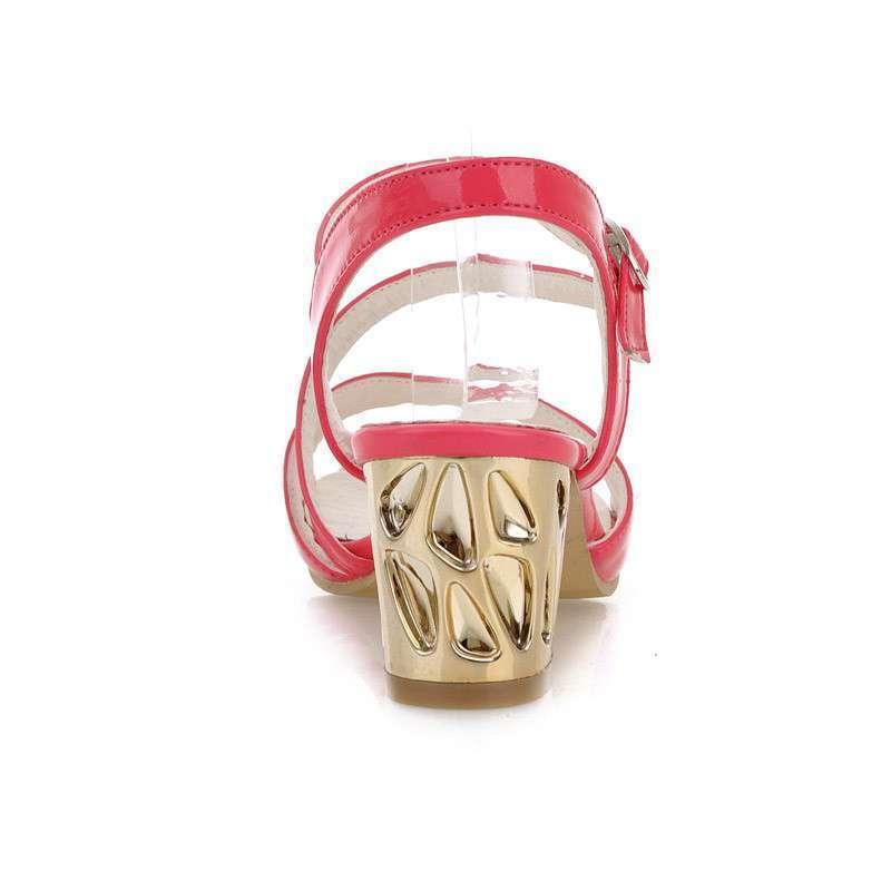 巫卡卡2014新款韩版甜美可爱学生休闲中跟凉鞋粗跟金属扣带女鞋283-a