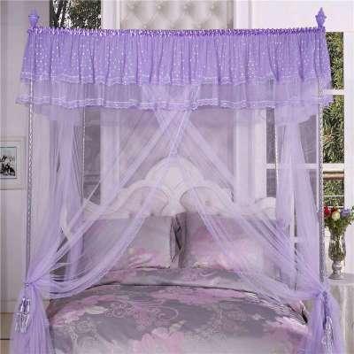 三开门加粗25号螺纹不锈钢 欧式宫廷奢华方顶落地公主蚊帐 紫色1.