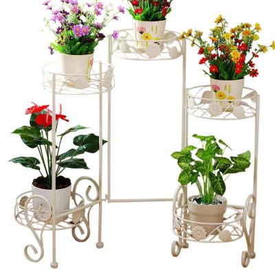 五盆旋转花架 创意室内客厅花架花盘架