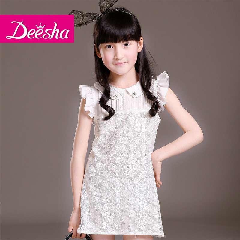 笛莎2014夏装新款儿童韩版裙子公主裙迪莎蕾丝雪纺