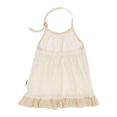 阮棉棉有机棉 婴儿吊带裙夏装宝宝连衣裙纯棉r6402 天然本白 73cm