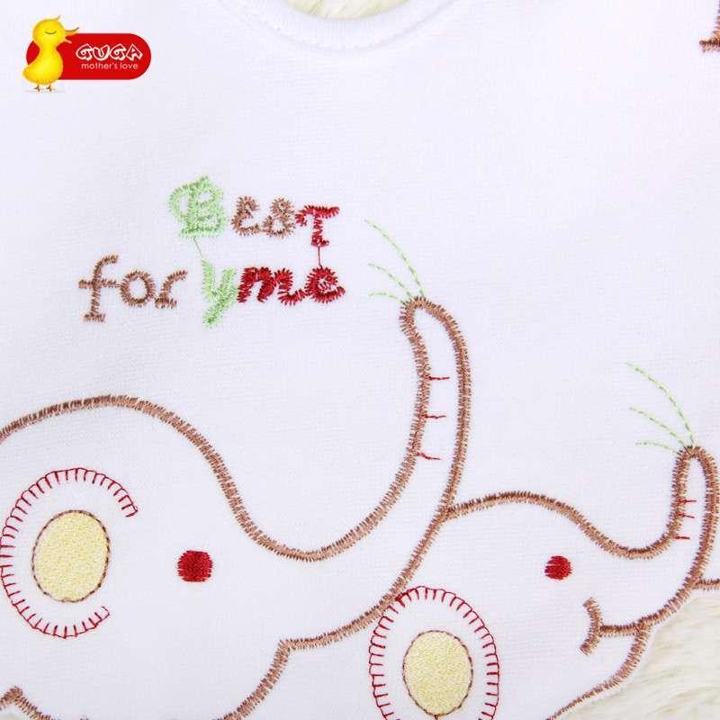 guga 咕嘎 纯棉毛巾布可爱卡通绣花小象围嘴 z013 (2个装) 棕色 m高清