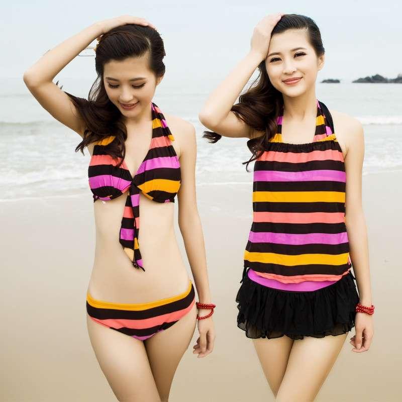 少女可爱温泉泳衣比基尼分体裙式显瘦泳装