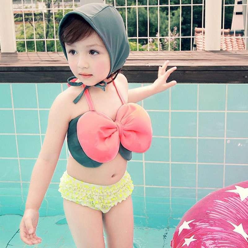 宜肤女童泳衣 分体温泉泳衣韩可爱公主大童比基尼游泳