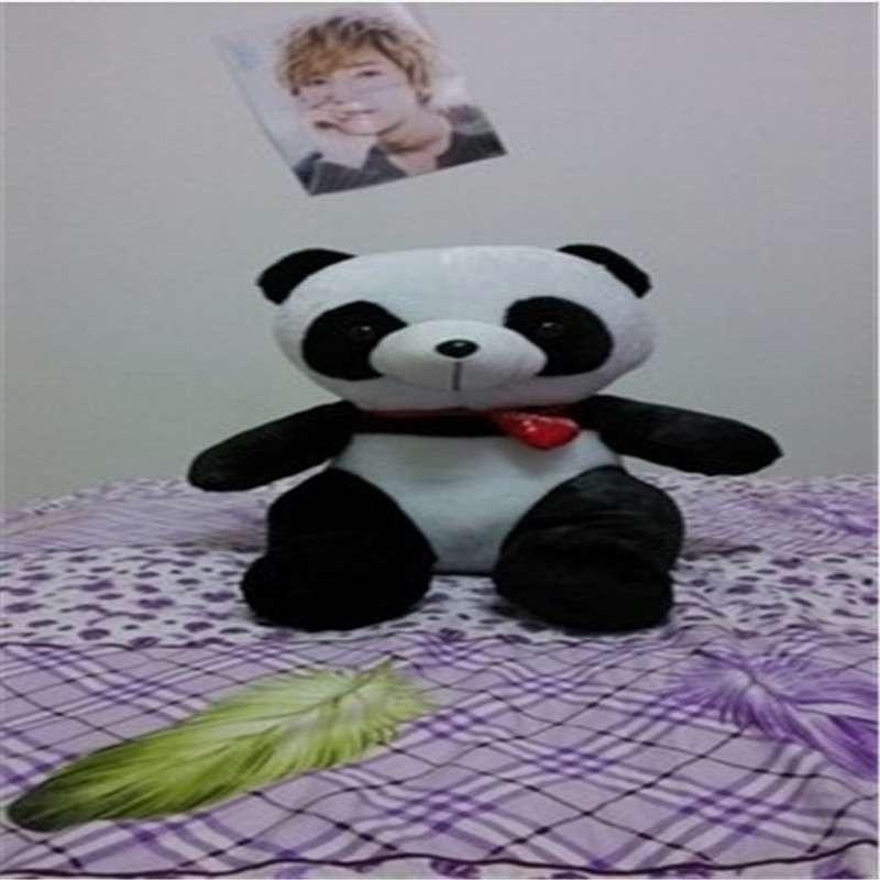 爱心可爱大熊猫公仔布娃娃毛绒玩具钟汉良黑花熊猫生日礼品 黑花猫坐