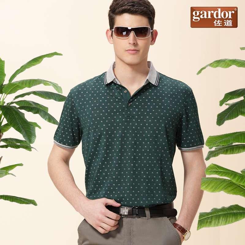 佐道正品新款男装翻领短袖t恤时尚休闲男版绅士夏季潮流图案 军绿色