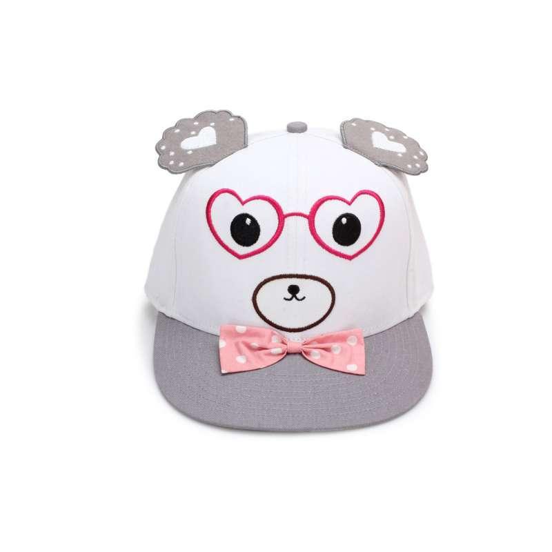 雅狮顿 蝴蝶结棒球帽 儿童纯棉可爱帽子 戴耳朵平舌帽遮阳帽 宝宝妈妈