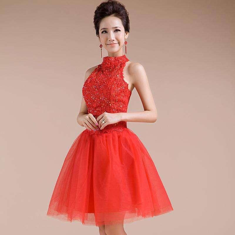 天雨尚衣新娘婚纱礼服新款红色短款结婚敬酒服挂脖小
