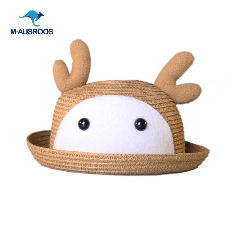 超萌卡通动物韩国可爱小鹿兔宝宝遮阳草帽子小孩女
