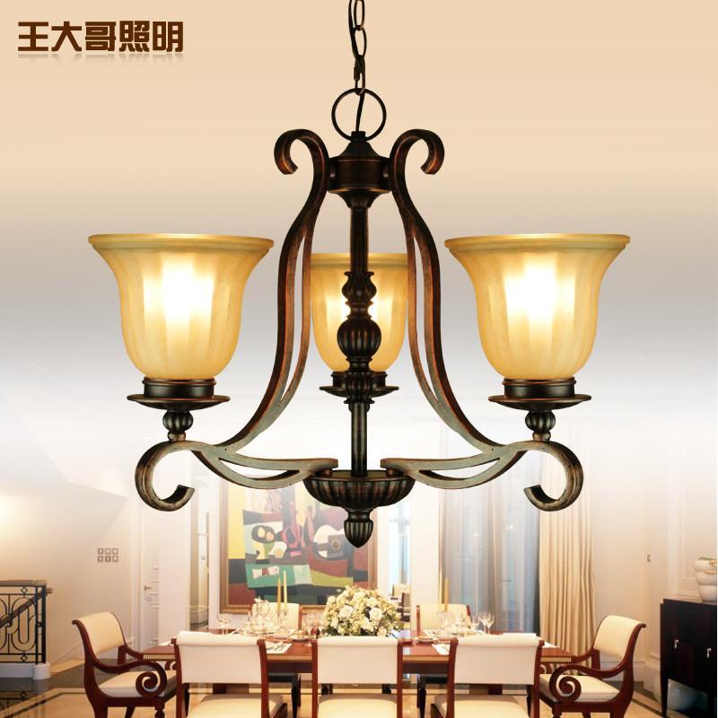 王大哥照明欧式吊灯 田园卧室客厅灯树脂铁艺餐厅书房美式吊灯具灯饰