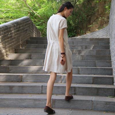 宽松休闲短袖森女棉麻手绘连衣裙