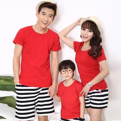第七公社 全家福亲子装一家三口2015新款韩版夏装纯色图片