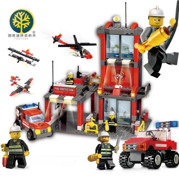 图思迪城市消防局兼容乐高拼装积木拼插益智启蒙儿童