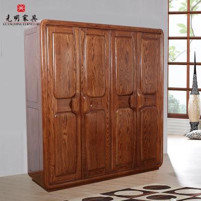 美国红橡木实木家具衣柜推拉门