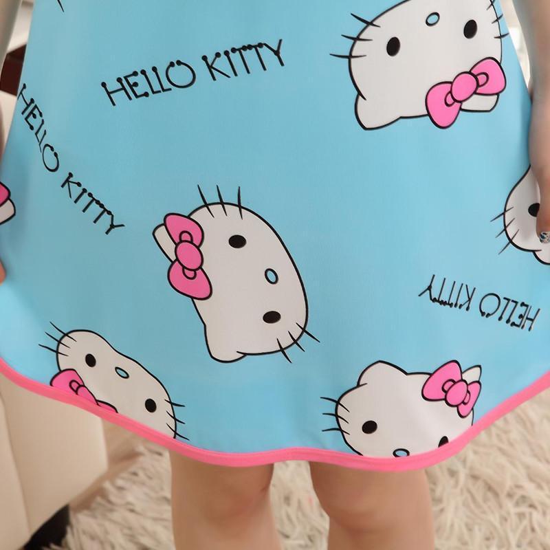 夏季新款卡通可爱kt猫时尚清凉舒适圆领连衣睡裙女士休闲居家服短袖