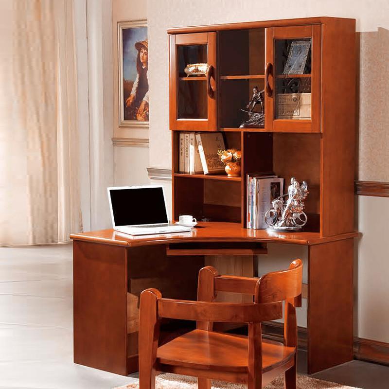 御品工匠 实木电脑桌书架组合笔记本台式家用书桌写字