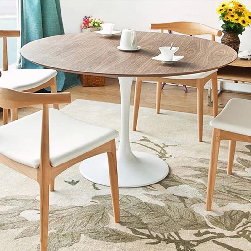 霍客森 现代简约北欧时尚圆餐桌 木面郁金香多人餐桌实木面大餐桌 110