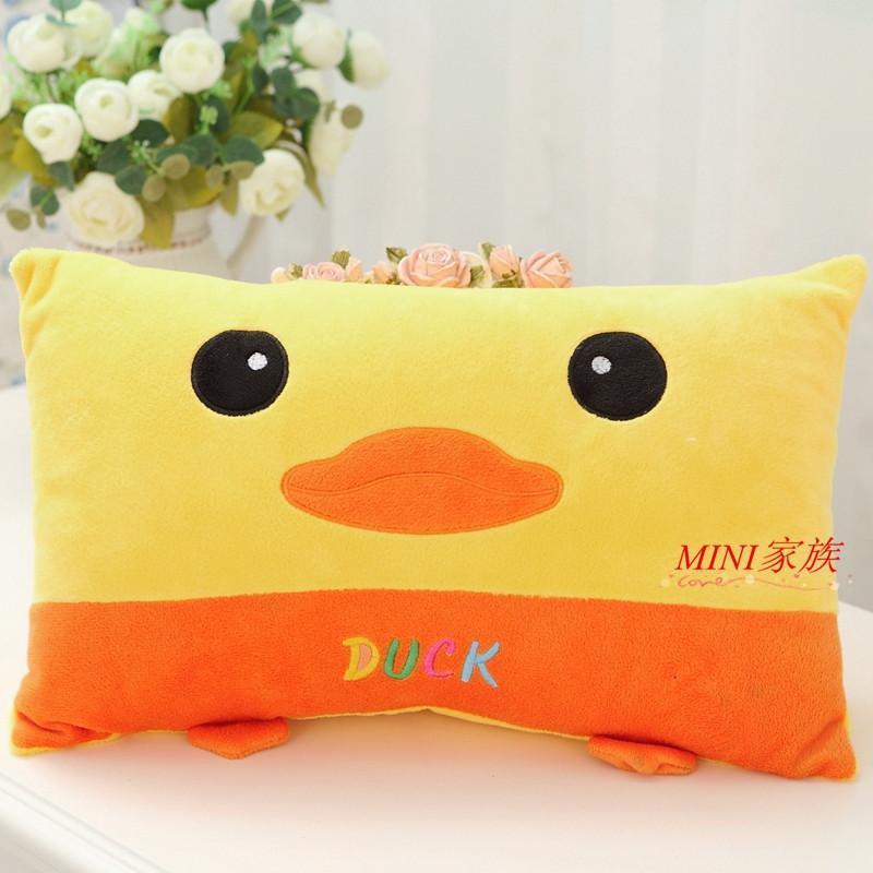可爱小鸭子卡通枕头学生枕头长方形抱枕靠垫儿童 午睡枕可拆洗