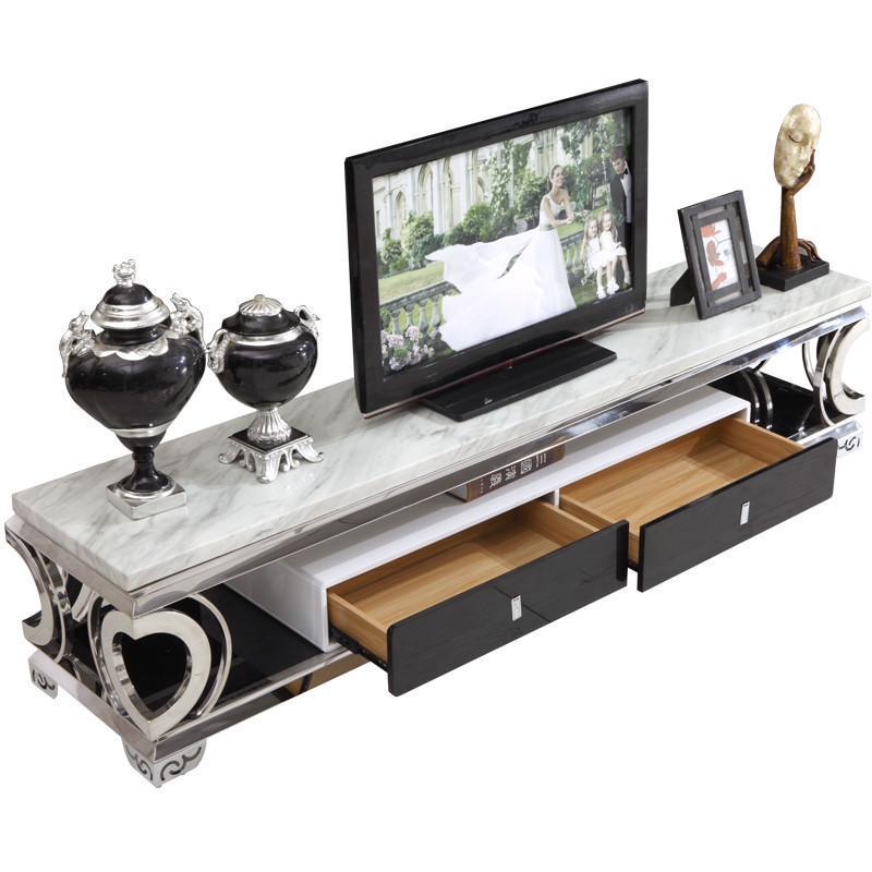 俏夫人高档大理石电视柜欧式不锈钢电视柜双抽屉简约地柜d-8011 如图