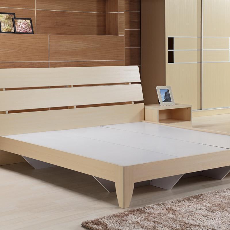 伏贝尼 板式家具 原木色简约现代双人床 1.8米大床 可储物板床 米色