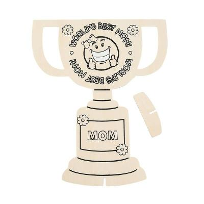 木制diy奖杯摆件 儿童涂画彩绘 木制手工 白模上色 6个 ef25180