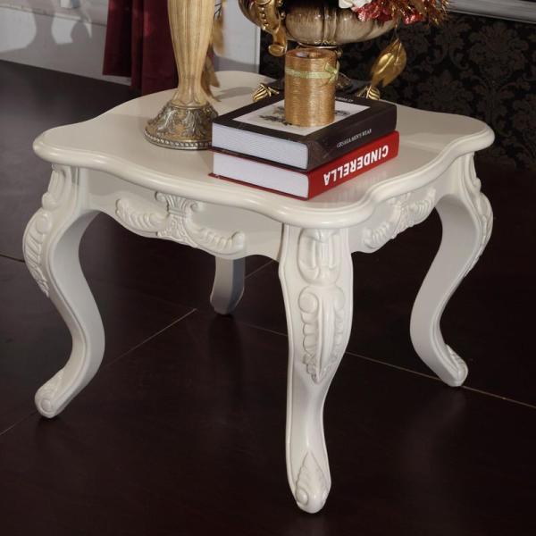 法丽莎家具g2欧式描银茶几简约实木长茶几雕花烤漆白色小边几角几a857