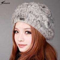 deniso帽子冬帽女款纯手工编织帽兔毛帽贝雷帽