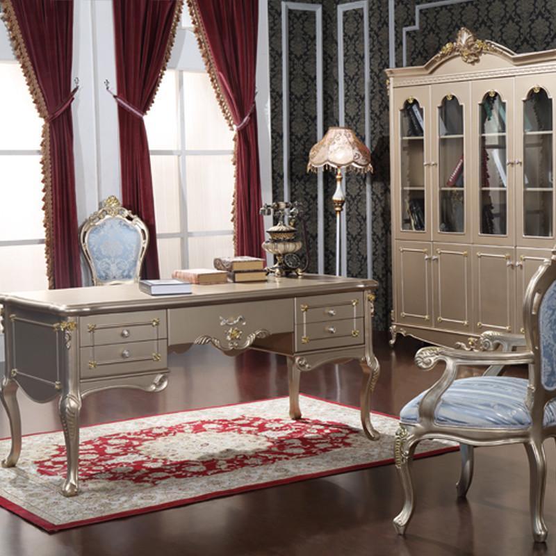 法丽莎家具y1欧式香书桌实木烤漆电脑桌奢华香槟办公